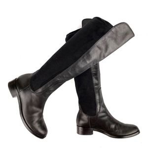COLE HAAN Air Black Leather/Stretchy Textile Boots